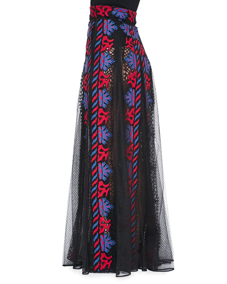 Sheer/Embroidered Paneled Long Skirt