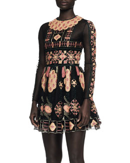 Valentino Long-Sleeve Embroidered Bambolina Dress