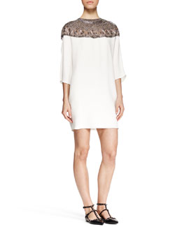 Valentino Embroidered-Yoke Shift Dress