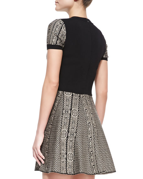 Short-Sleeve Medallion-Stripe Solid Back Dress