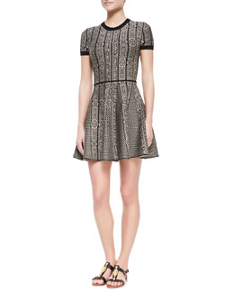 Valentino Short-Sleeve Medallion-Stripe Solid Back Dress