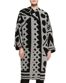 Burberry Prorsum Double-Breasted Printed Coat, Gray/Black