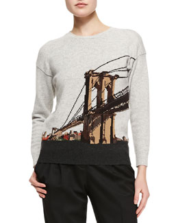 Burberry Prorsum Brooklyn Bridge Intarsia Sweater, Gray