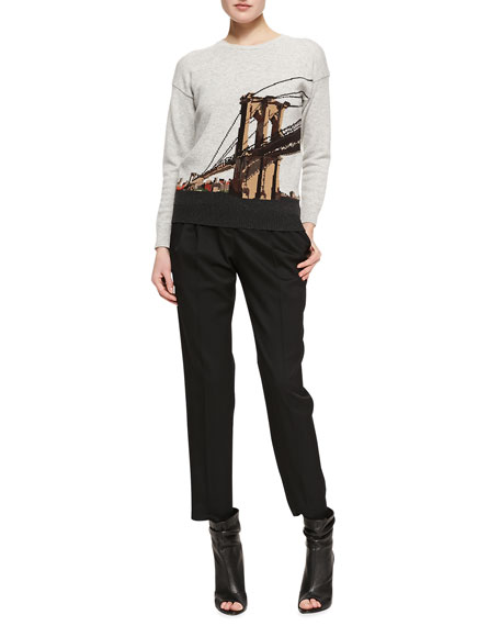 Cropped Pleated Trousers, Black