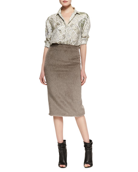 Mid-Length Pencil Skirt, Taupe
