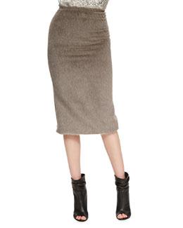 Burberry Prorsum Mid-Length Pencil Skirt, Taupe