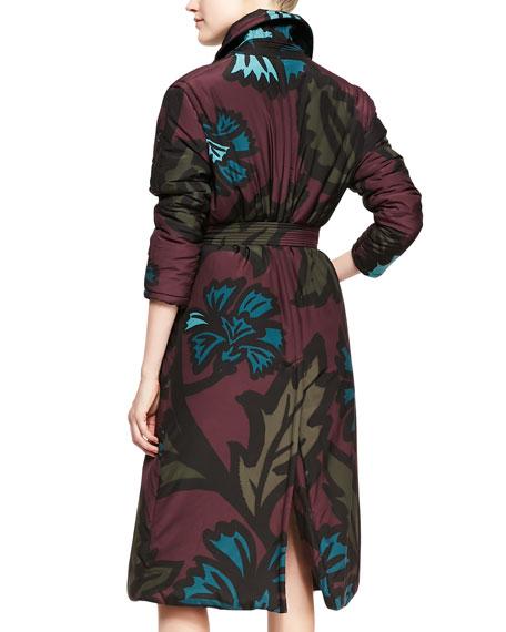 3/4-Sleeve Floral-Print Coat, Deep Claret