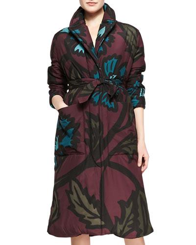 Burberry Prorsum 3/4-Sleeve Floral-Print Coat, Deep Claret
