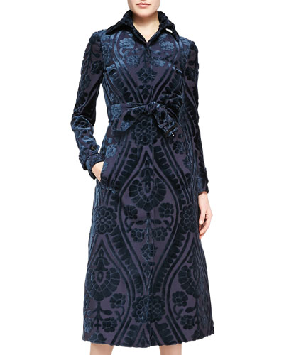 Burberry Prorsum Midi Velvet Patterned Coat, Pewter Blue/Ink