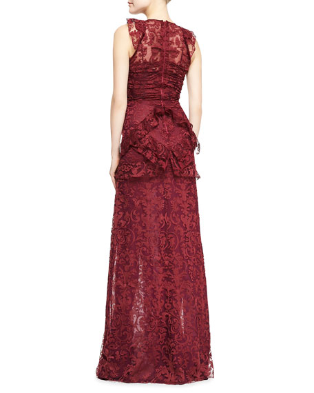 Sleeveless Lace Gown with Thigh-High Vent, Deep Fuchsia