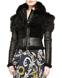 Burberry Prorsum Cropped Fur & Leather Jacket