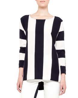 Akris punto Bold Striped Sweater, Navy/Cream