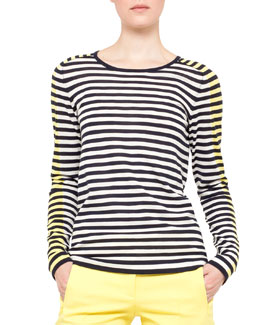 Akris punto Slim Striped Sweater, Navy/Cream/Yellow