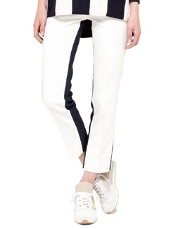 Akris punto Colorblock Franca Pants, Navy/Cream