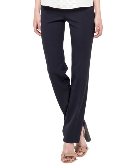 Side-Zip Francoise Pants, Navy