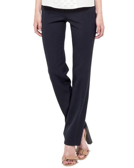 Side-Zip Francoise Pants, Navy
