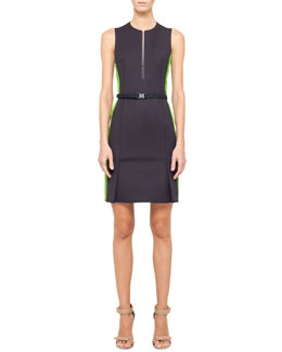 Akris punto Two-Tone Sheath Dress, Navy