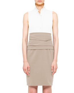 Akris punto Colorblock Cummerbund Dress, Cream/Sand