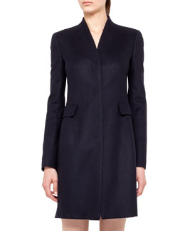 Akris punto V-Neck Wool Coat with Pockets, Navy