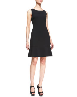 Armani Collezioni Sleeveless Wool Dress with Flared Skirt, Black