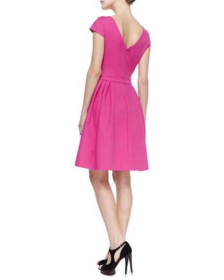 Tech Cotton Full-Skirt V-Neck Dress, Flambe Pink