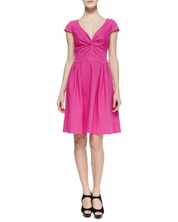 Armani Collezioni Tech Cotton Full-Skirt V-Neck Dress, Flambe Pink