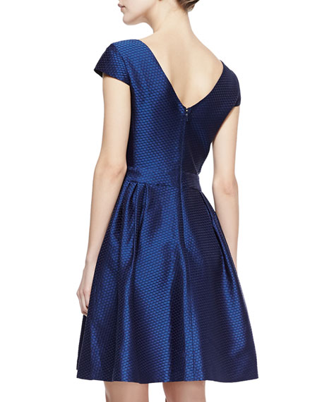 Honeycomb Dupioni Full-Skirt V-Neck Dress, Navy