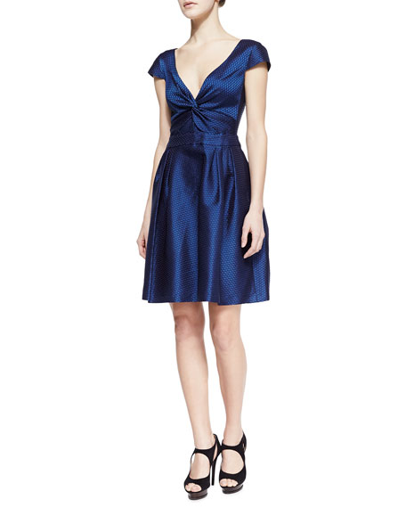 Honeycomb Dupioni Full-Skirt V-Neck Dress, Navy