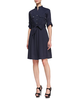 Armani Collezioni Snap-Front Shirtdress with A-Line Skirt, Navy