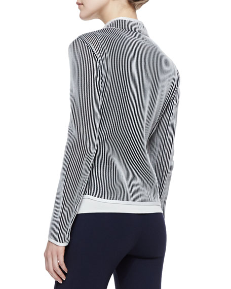 Stripe Knit Jacket, Porcelain/Multi