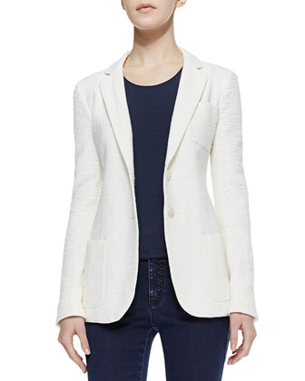 Cotton Slub Patch-Pocket Blazer, Porcelain
