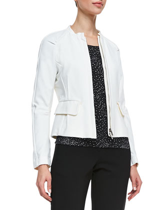 Darted Tech Cotton Jacket, Porcelain