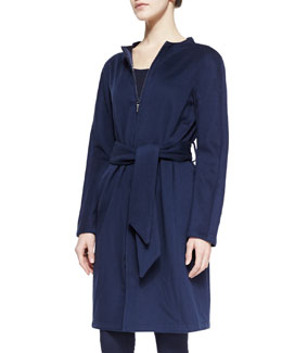 Armani Collezioni Zip-Front Collarless Coat with Tie Belt, Navy