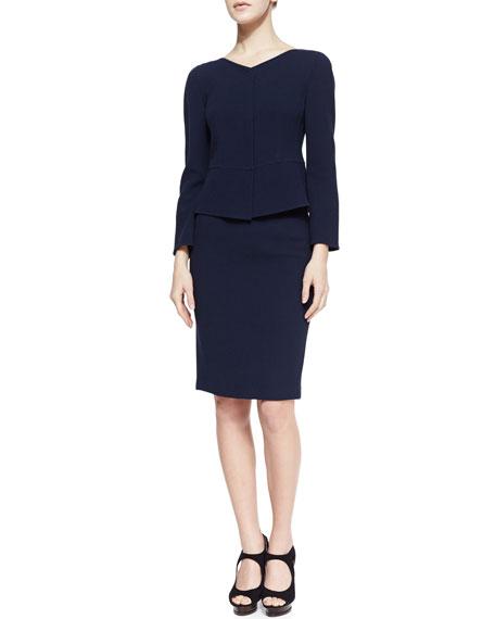 Wool Crepe Pencil Skirt, Navy
