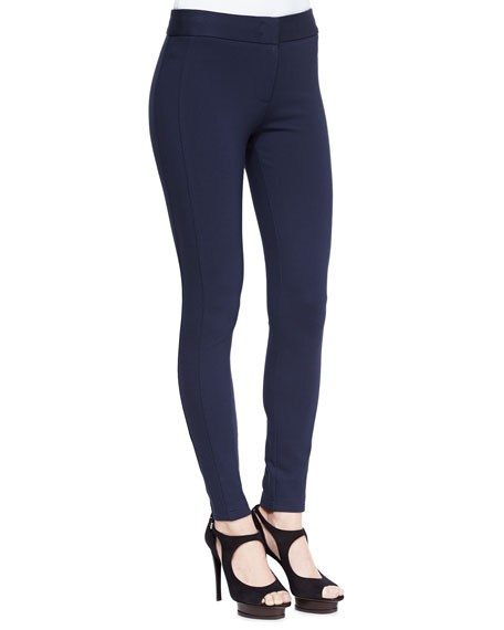 Jersey Legging Pants with Front Zip, Navy