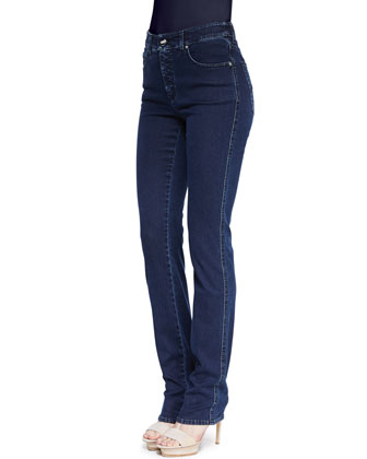 Straight-Leg Dark Denim Jeans