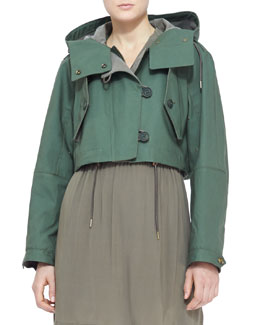 Burberry Brit Cropped Hooded Parka Jacket, Pigment Green
