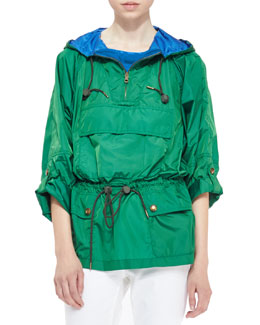 Burberry Brit Packaway Pullover Jacket, Dark Pigment Green