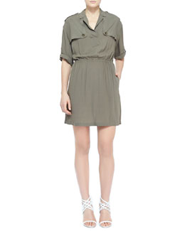 Burberry Brit Silky Dress with Gunflaps, Dusty Khaki