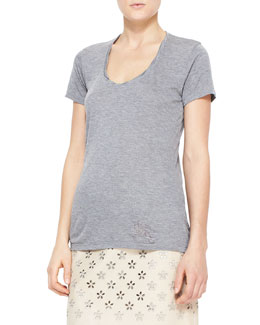 Burberry Brit Heathered Short-Sleeve Tee, Gray