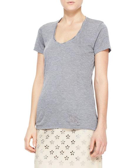 Heathered Short-Sleeve Tee, Gray