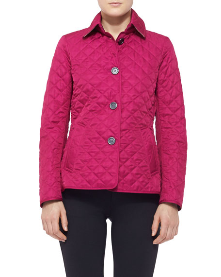 Quilted Button-Up Jacket, Bright Magenta