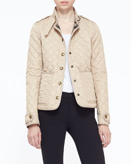 Burberry Brit Quilted Snap-Front Jacket, New Chino