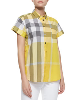 Burberry Brit Short-Sleeve Check Cotton Button-Up Shirt, Dandelion
