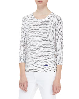 Burberry Brit Polka-Dot Drape-Back Knit Sweater
