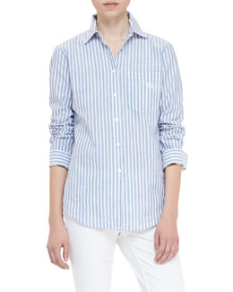 Burberry Brit Striped Cotton-Linen Button-Up Shirt, Bright Canvas Blue