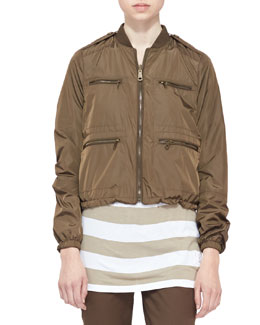 Burberry Brit Reversible Bomber Jacket, Military Khaki