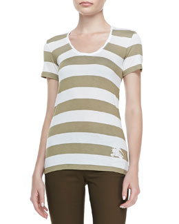 Burberry Brit Wide-Striped Tank Top, White/Tan