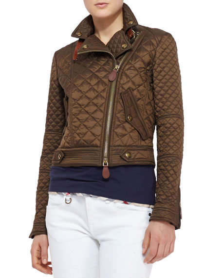 Quilted Moto Jacket, Military Khaki