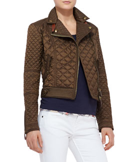 Burberry Brit Quilted Moto Jacket, Military Khaki